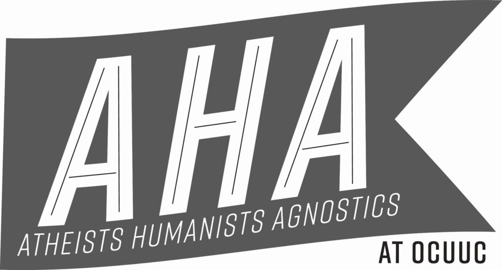 Atheists Humanists Agnostics flag and logo for group at OCUUC.