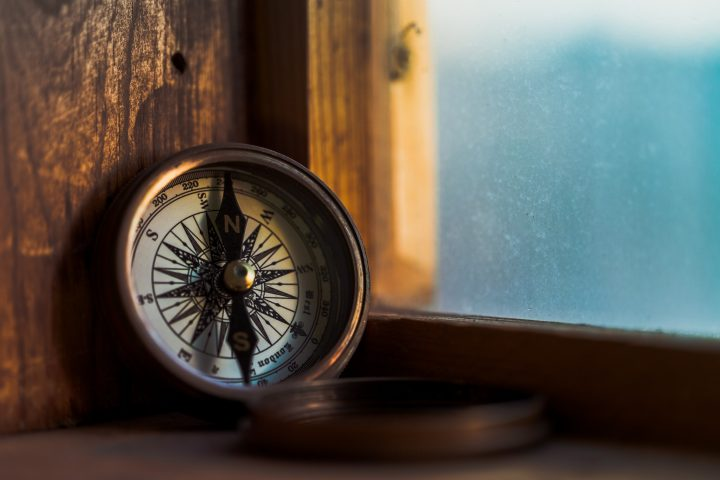 Compass resting against window sill