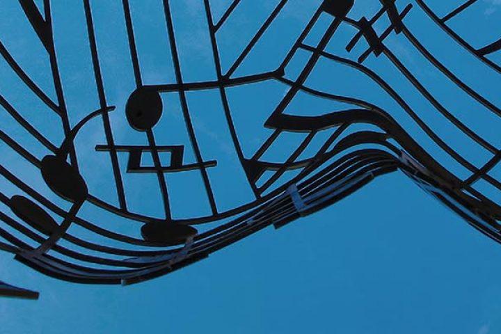 Sheet music as art sculpture